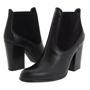 Stuart Weitzman Black 'Held' Leather Ankle Boots